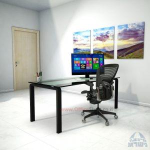 שולחן כתיבהזכוכית שקופהמחוסמת Moro Glass – רגל שחורה