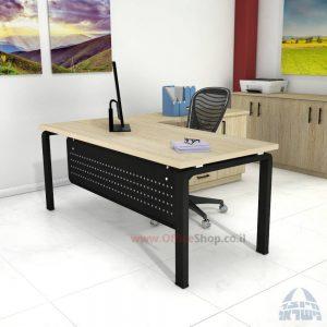 שולחן מזכירה יוקרתי דגם Moro – MD5 רגל שחורה ומיסתור מתכת