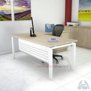 שולחן מזכירה יוקרתי דגם Moro – MD5 רגל לבנה ומיסתור מתכת