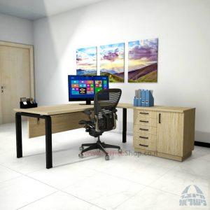 שולחן מזכירה יוקרתי דגם Moro – MD5 רגל שחורה ומיסתור עץ
