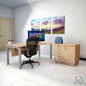שולחן מזכירה יוקרתי דגם Moro – MD5 רגל כסופה ומיסתור עץ