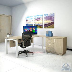 שולחן מזכירה יוקרתי דגם Moro – MD5 רגל לבנה ומיסתור עץ