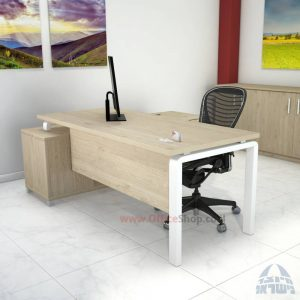 שולחן מנהלים פינתי דגם Moro רגל לבנה