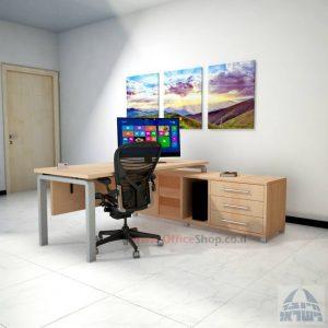 שולחן מנהלים פינתי דגם Moro עם מסתור עץ