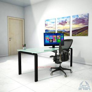 שולחן כתיבהזכוכית לבנהמחוסמת Moro Glass – רגל שחורה
