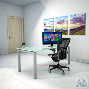 שולחן כתיבהזכוכית לבנהמחוסמת Moro Glass – רגל כסופה