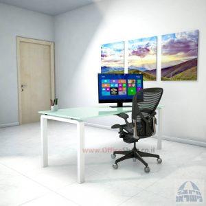 שולחן כתיבהזכוכית לבנהמחוסמת Moro Glass – רגל לבנה