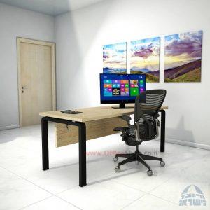 שולחן כתיבה יוקרתי דגם Moro כולל מיסתור עץ רגל שחורה