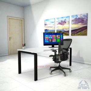 שולחן כתיבהזכוכית מחוסמת אקסטרה קליר בצבע לבן שלג Moro Glass – רגל שחורה