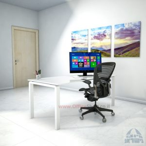 שולחן כתיבהזכוכית מחוסמת אקסטרה קליר בצבע לבן שלג Moro Glass – רגל לבנה