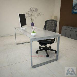 שולחן עבודה Niro Glass רגל כסופה זכוכית אקסטרה קליר חלבית צרובה