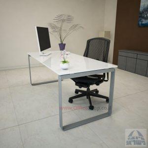 שולחן עבודה Niro Glass רגל כסופה זכוכית אקסטרה קליר בצבע לבן שלג