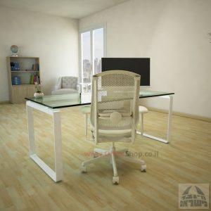 שולחן עבודה Niro Glass רגל לבנה זכוכית שקופה
