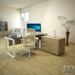 שולחן מנהלים פינתי Niro Glass רגל לבנה + זכוכית אפורה