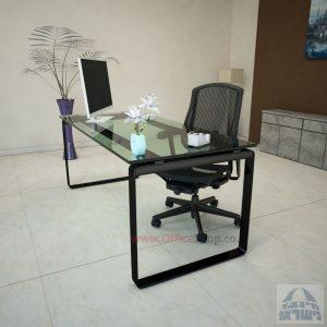 שולחן עבודה Niro Glass רגל שחורה זכוכית שקופה