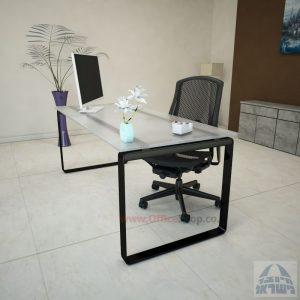 שולחן עבודה Niro Glass רגל שחורה זכוכית אקסטרה קליר חלבית צרובה