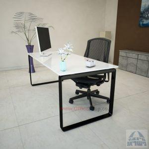 שולחן עבודה Niro Glass רגל שחורה זכוכית אקסטרה קליר בצבע לבן שלג
