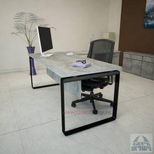 שולחן מזכירה פינתי דגם Niro – M4 רגל שחורהכולל מיסתור עץ