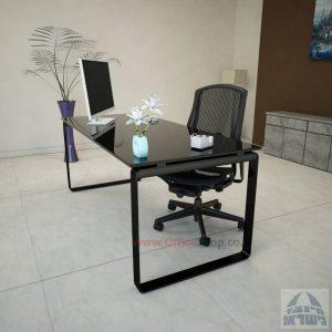 שולחן עבודה Niro Glass רגל שחורה זכוכית שחורה