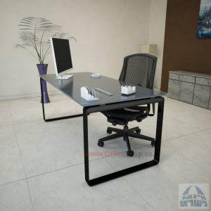 שולחן עבודה Niro Glass רגל שחורה זכוכית אפורה