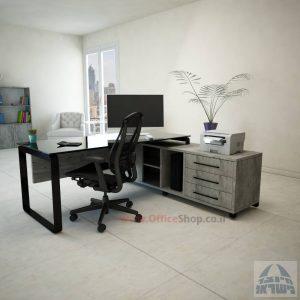שולחן מנהלים פינתי Niro Glass רגל שחורה + זכוכית שחורה