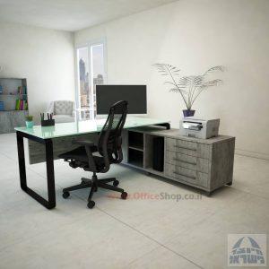 שולחן מנהלים פינתי Niro Glass רגל שחורה + זכוכית לבנה