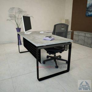 שולחן מזכירה פינתי דגם Niro – M4 רגל שחורהכולל מיסתור מתכת