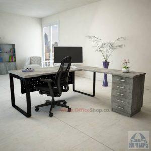 שולחן מזכירה פינתי דגם Niro – M4  כולל מיסתור עץ