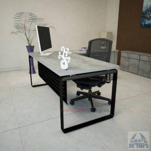 שולחן מזכירה יוקרתי דגם Niro – MD4 רגל שחורה כולל מיסתור מתכת