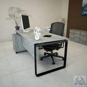 שולחן מנהלים פינתי דגם Niro רגל שחורה כולל מיסתור עץ
