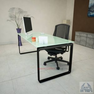 שולחן עבודה Niro Glass רגל שחורה זכוכית לבנה