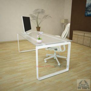 שולחן עבודה Niro Glass רגל לבנה זכוכית אקסטרה קליר חלבית צרובה