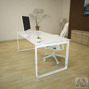 שולחן עבודה Niro Glass רגל לבנה זכוכית אקסטרה קליר בצבע לבן שלג