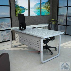 שולחן מזכירה פינתי Ring 5M רגל צינור כסופה כולל מיסתור מתכת