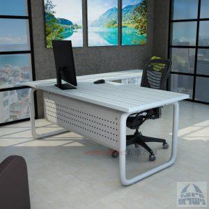 שולחן מזכירה פינתי Ring 5DM רגל צינור כסופה כולל מיסתור מתכת