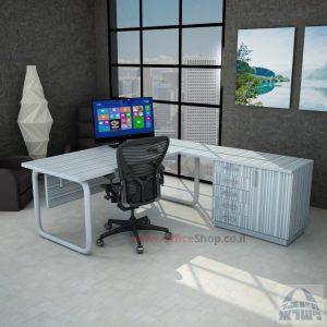 שולחן מזכירה פינתי Ring 5DM רגל צינור כסופה כולל מיסתור עץ