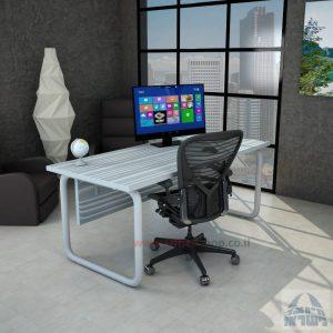 שולחן כתיבה משרדי דגם Ring רגל צינור כסופה כולל מיסתור עץ