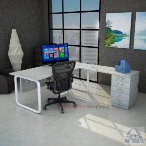 שולחן מזכירה פינתי Ring 5M רגל צינור לבנה כולל מיסתור עץ
