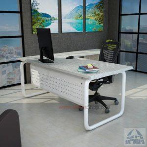 שולחן מזכירה פינתי Ring 5M רגל צינור לבנה כולל מיסתור מתכת
