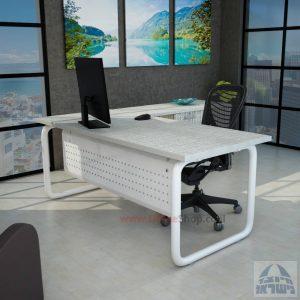 שולחן מזכירה פינתי Ring 5DM רגל צינור לבנה כולל מיסתור מתכת