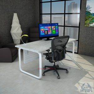 שולחן כתיבה משרדי דגם Ring רגל צינור לבנה + מיסתור מתכת