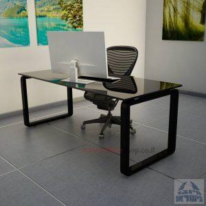 שולחן כתיבהזכוכית שחורהמחוסמת Rondo Glass – רגל שחורה