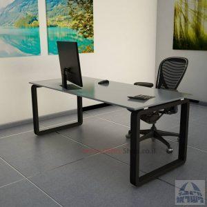 שולחן כתיבהזכוכית אפורהמחוסמת Rondo Glass – רגל שחורה