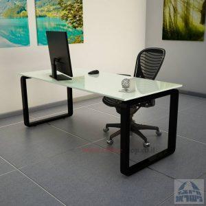 שולחן כתיבהזכוכית לבנהמחוסמת Rondo Glass – רגל שחורה