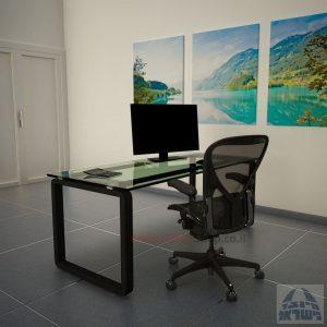 שולחן כתיבהזכוכית שקופהמחוסמת Rondo Glass – רגל שחורה