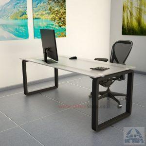 שולחן כתיבהזכוכית אקסטרה קליר חלבית צרובהומחוסמת Rondo Glass – רגל שחורה