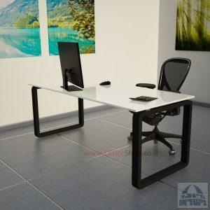 שולחן כתיבהזכוכית מחוסמת אקסטרה קליר בצבע לבן שלג  Rondo Glass – רגל שחורה