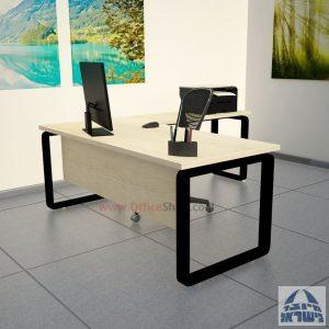 שולחן מזכירה יוקרתי דגם Rondo רגל שחורה ללא מגירות - מיסתור עץ