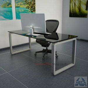 שולחן כתיבהזכוכית שחורהמחוסמת Rondo Glass – רגל כסופה