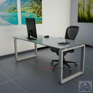 שולחן כתיבהזכוכית אפורהמחוסמת Rondo Glass – רגל כסופה